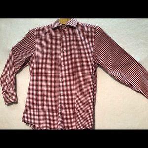 Men's long sleeve dress shirt. Red plaid 16.5
